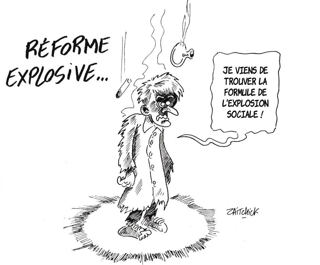 dessin de Zaïtchick sur Emmanuel Macron et les réactions sociales aux réformes