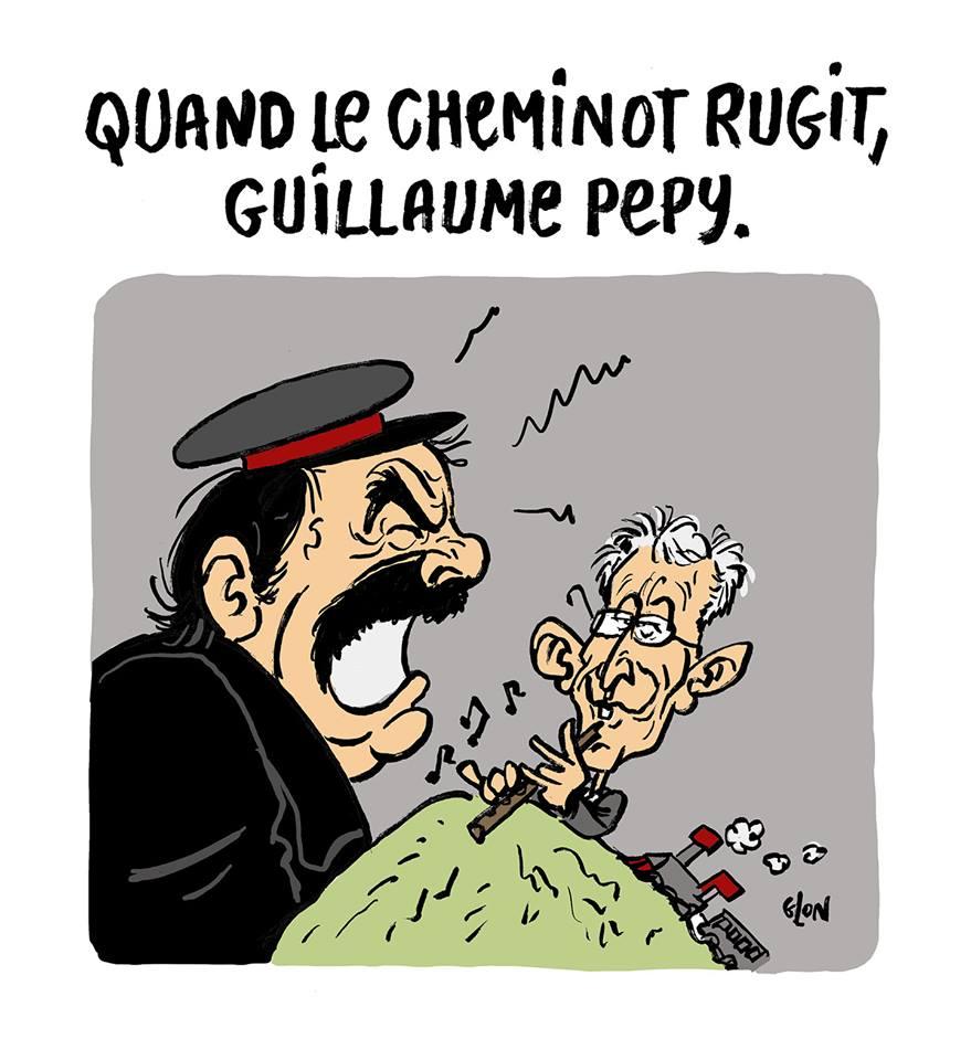 dessin humoristique de Glon sur la grève à la SNCF, Philippe Martinez et Guillaume Pepy