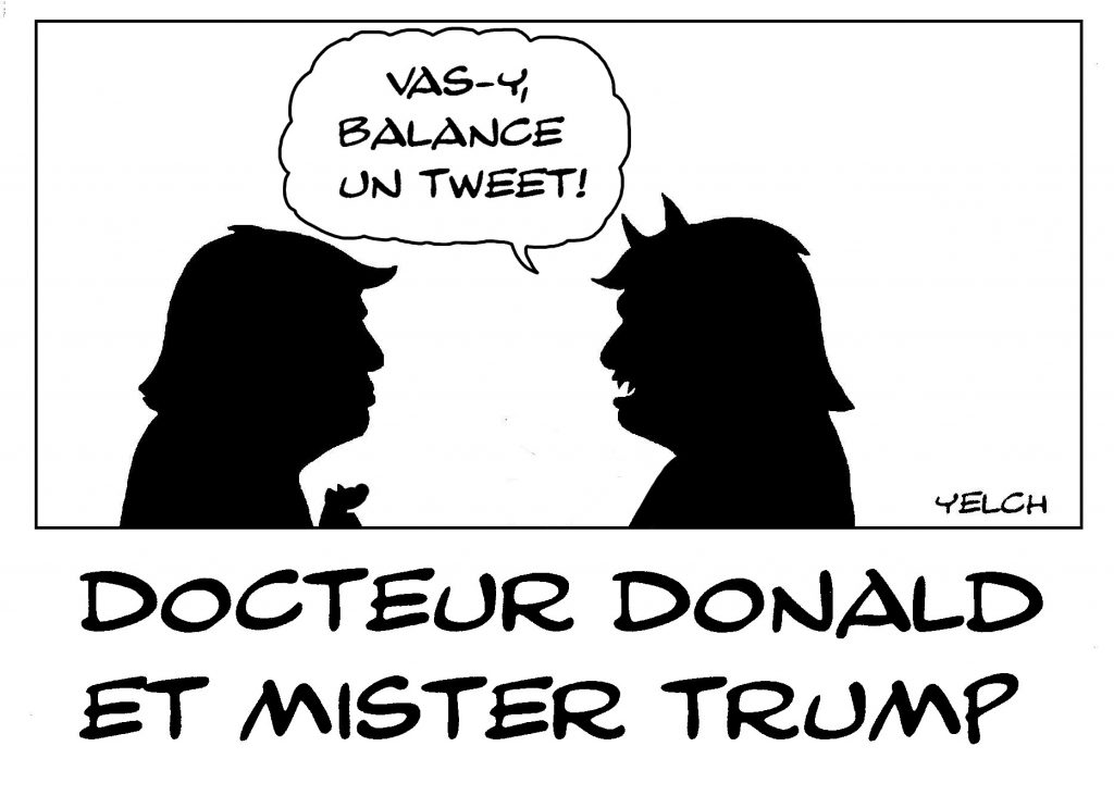 dessin de Yelch sur Donald Trump et sa communication tweeté
