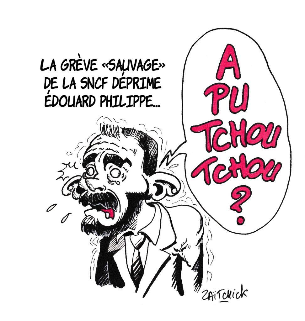 dessin de Zaïtchick sur la grève à la SNCF et le mécontentement du gouvernement