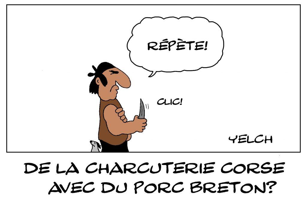 dessin de Yelch sur la charcuterie corse faite à base de porc breton