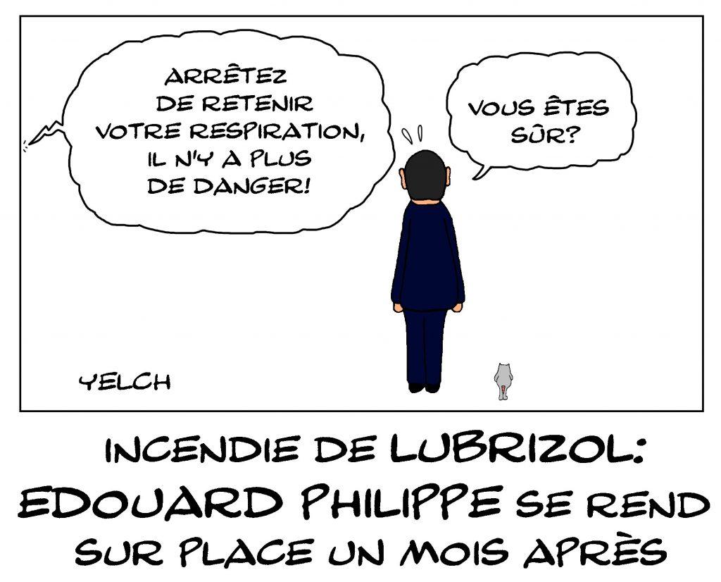 dessin de Yelch sur le déplacement d'Édouard Philippe à Rouen un mois après l'incendie de Lubrizol