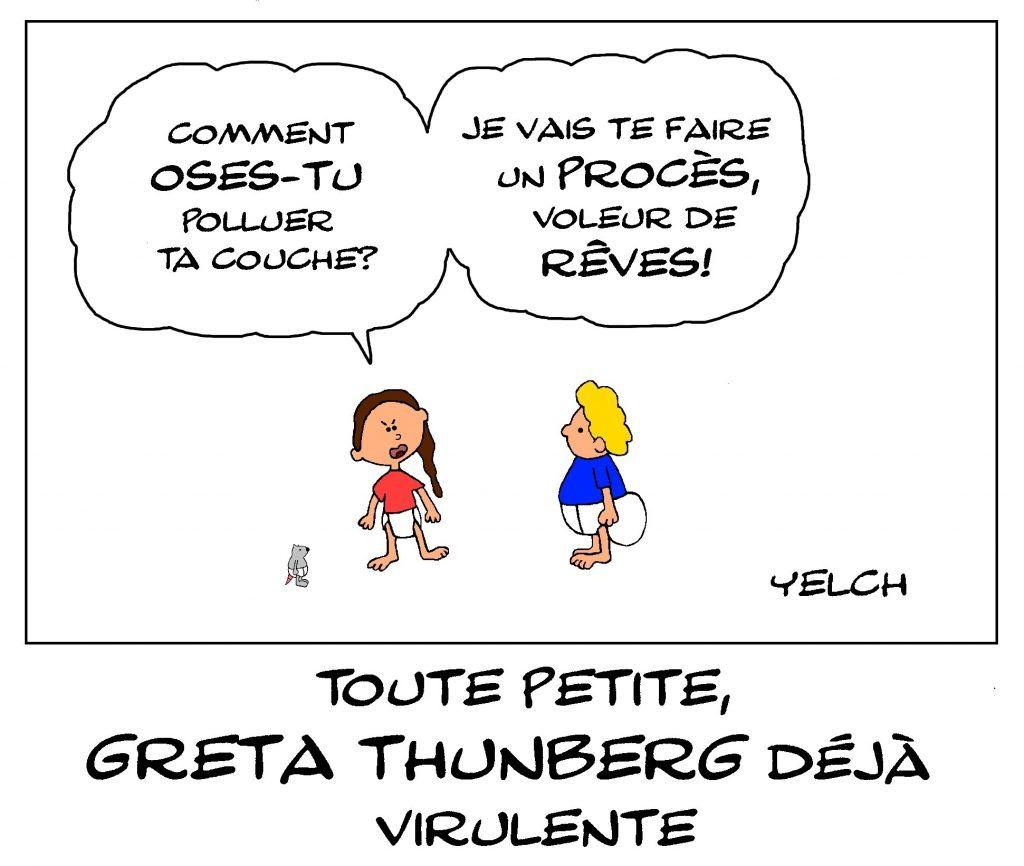 dessin de Yelch sur Greta Thunberg