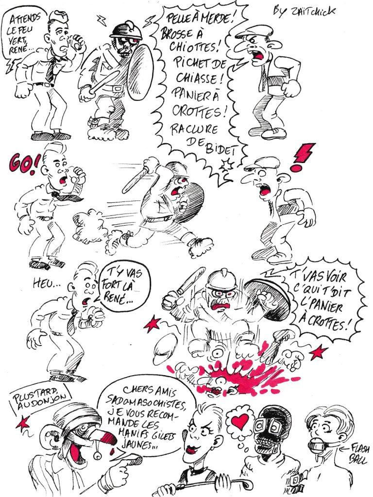 bande dessinée de Zaïtchick sur un gilet jaune sadomasochiste qui provoque un policier