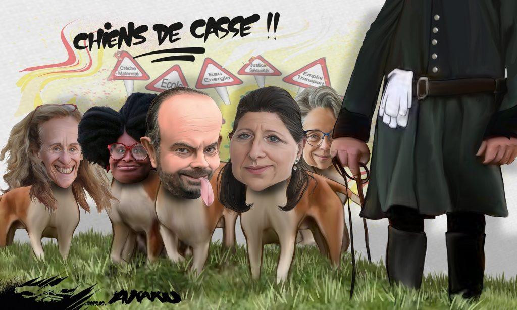 dessin d'actualité humoristique de Jerc sur l'ouverture de la chasse et les réformes sociales menées par les ministres d'Emmanuel Macron