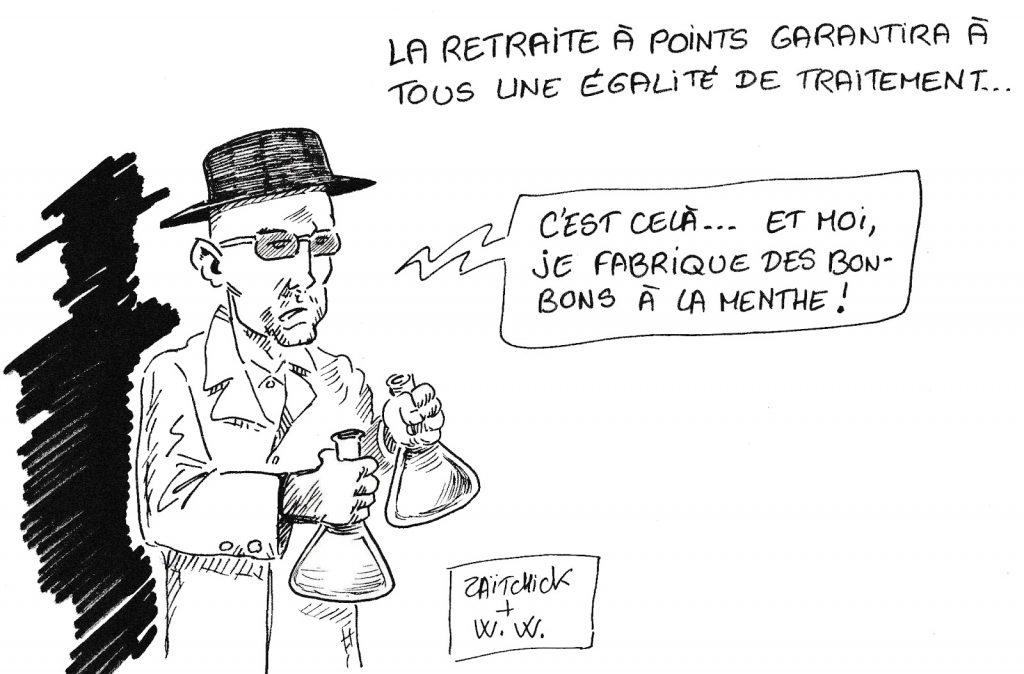 dessin de Zaïtchick sur Walter White qui commente la réforme des retraites