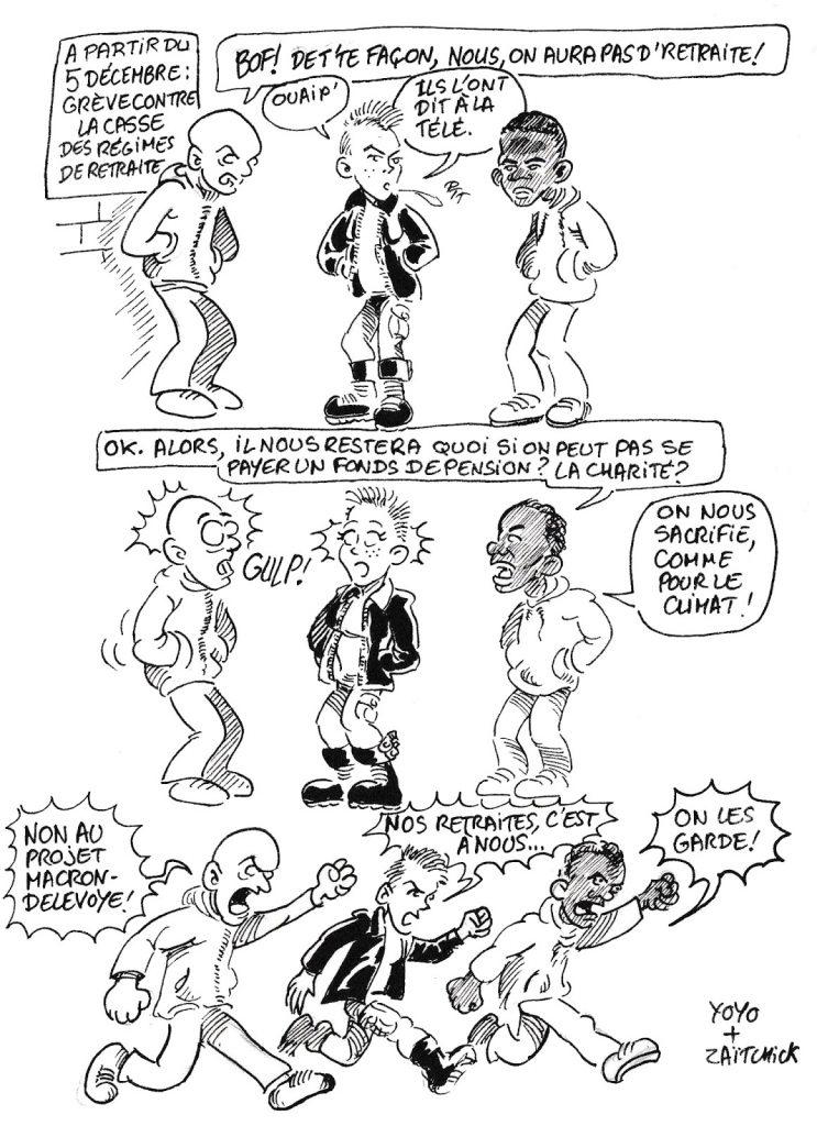 Bande dessinée de Zaïtchick sur la grève générale à partir du 5 décembre contre le projet Delevoye de retraite par points