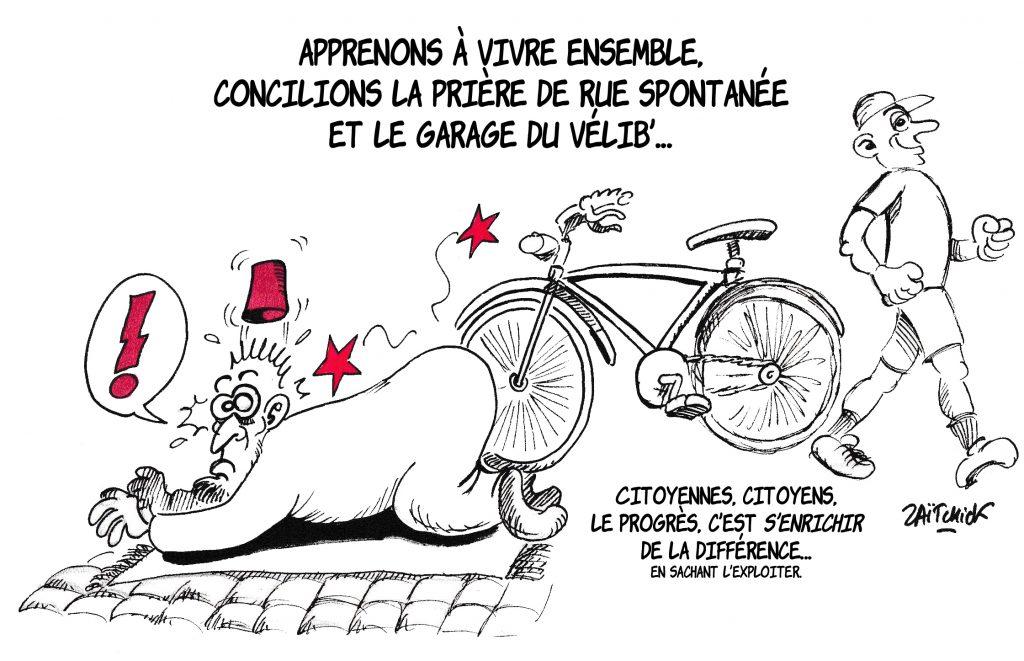 dessin de Zaïtchick sur la prière de rue et les garages à vélos