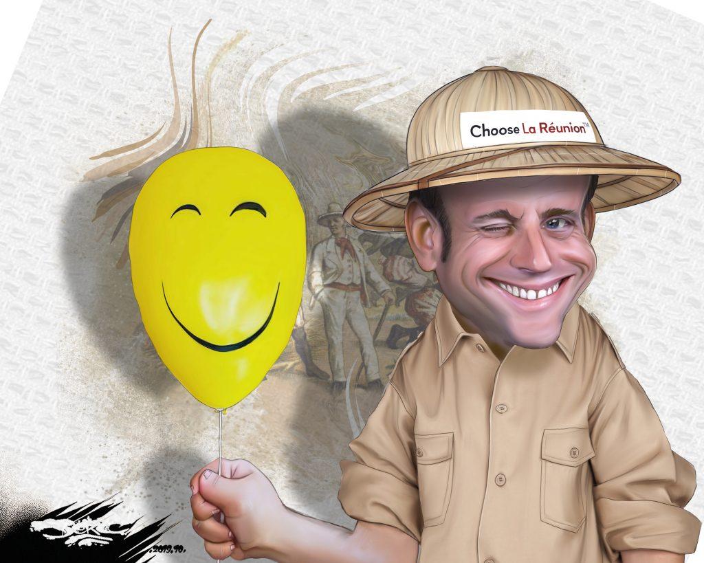 dessin d'actualité humoristique de Jerc sur la visite présidentielle d'Emmanuel Macron sur l'île de la Réunion