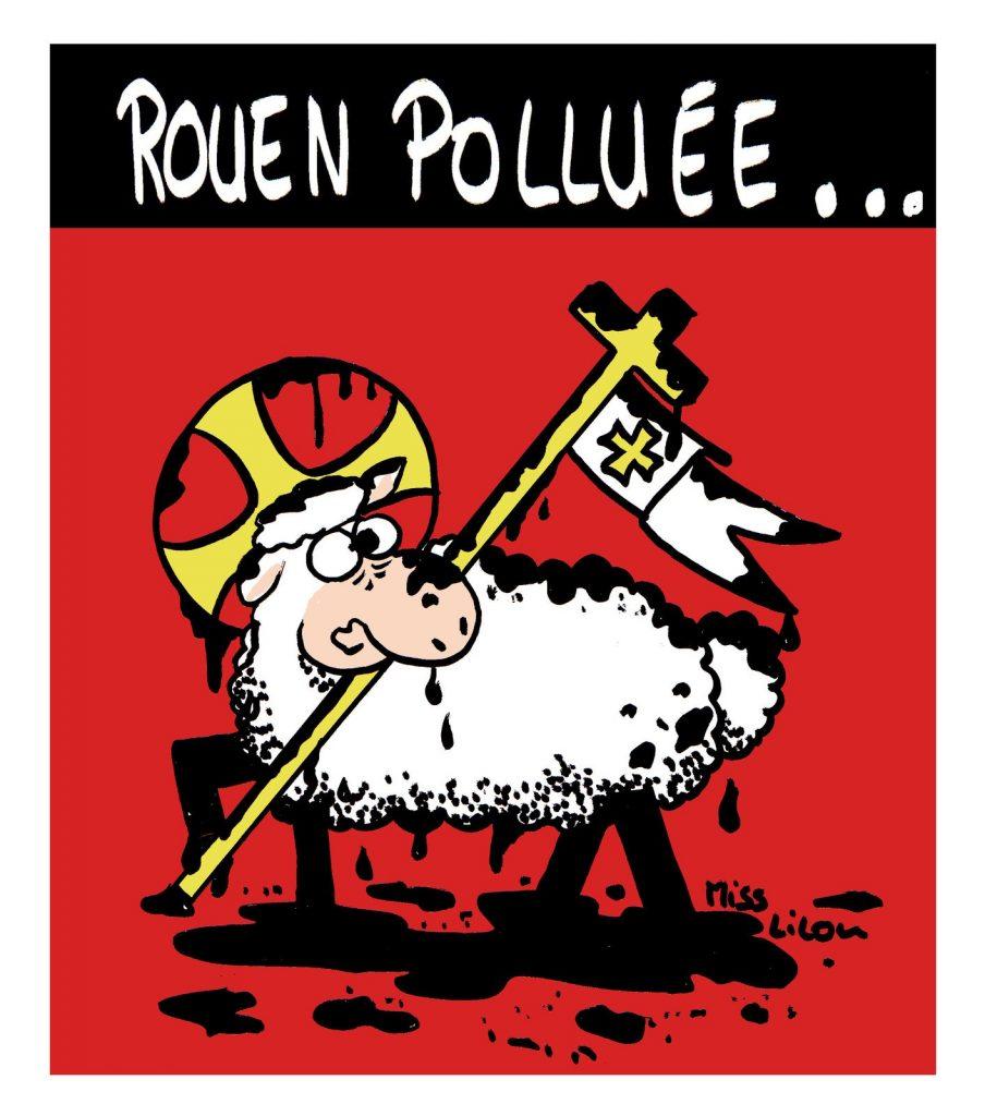 dessin de Miss Lilou sur l'incendie de l'usine Lubrizol à Rouen et la pollution par les produits chimiques du nuage de fumée