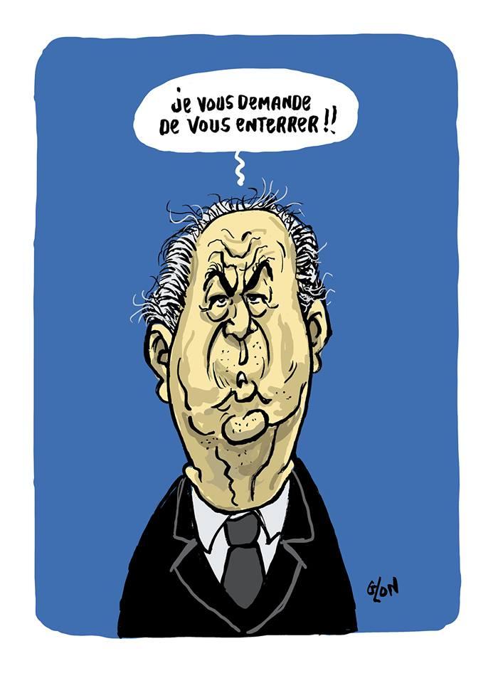 dessin humoristique de Glon sur la mort de Jacques Chirac et la phrase culte d'Édouard Balladur