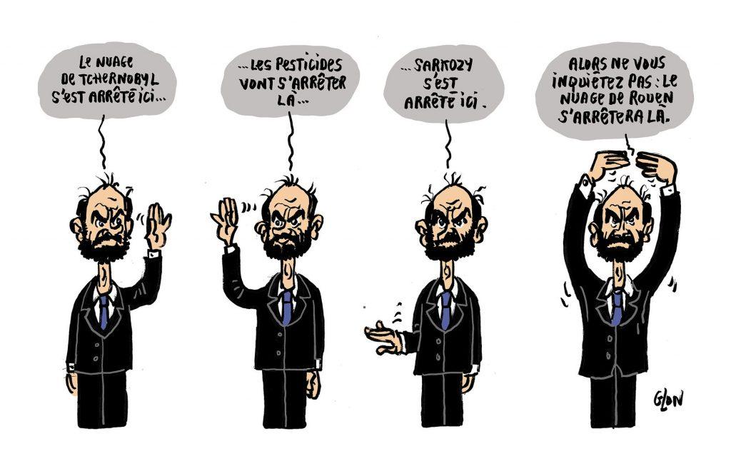 dessin humoristique de Glon sur Édouard Philippe et les propos rassurants suite à l'incendie de l'usine Lubrizol à Rouen