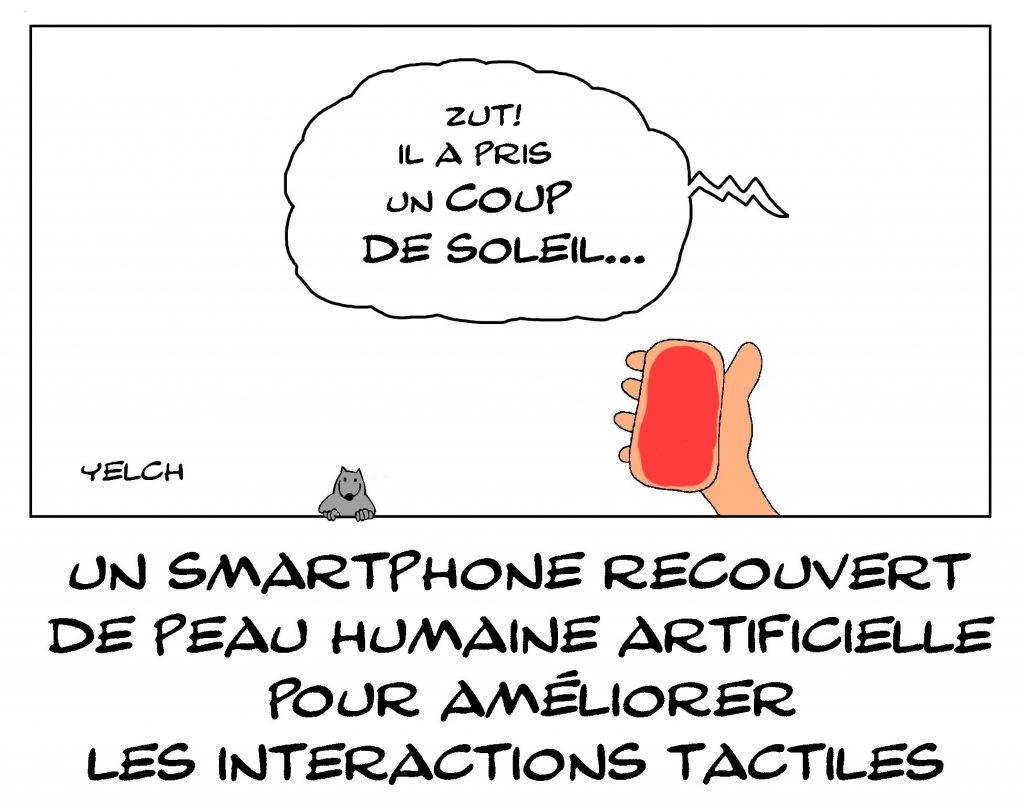 dessin de Yelch sur les smartphones recouverts de peau humaine artificielle