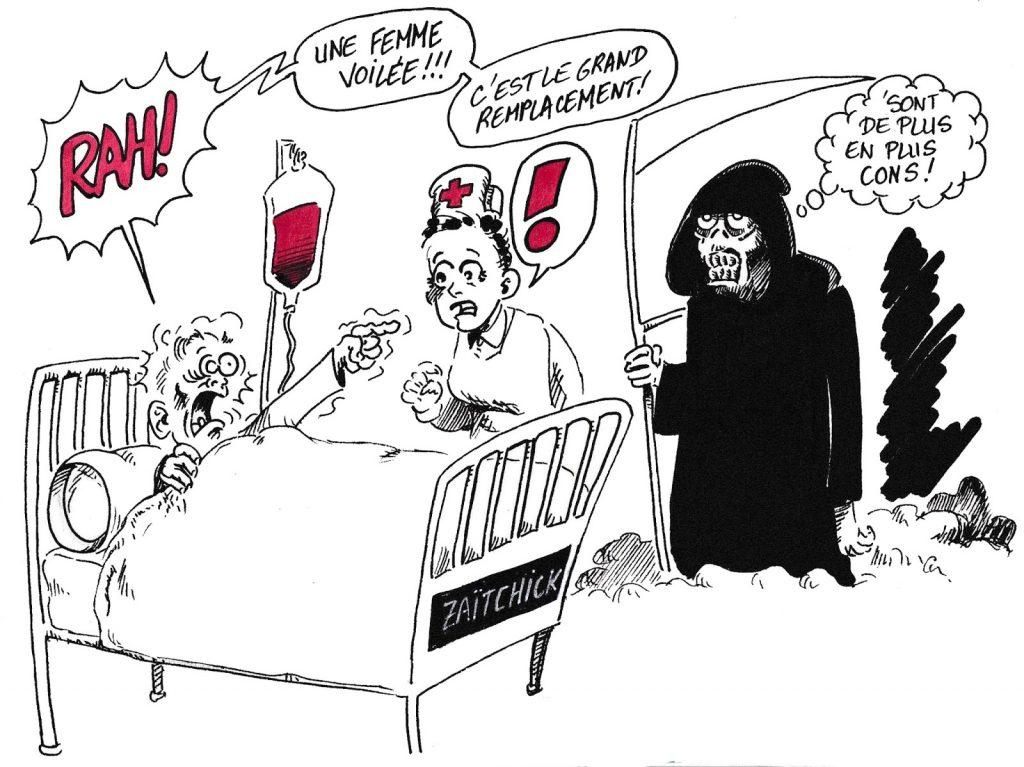 Dessin de Zaïtchick sur la Camarde au chevet d'un mourant et le voile islamique