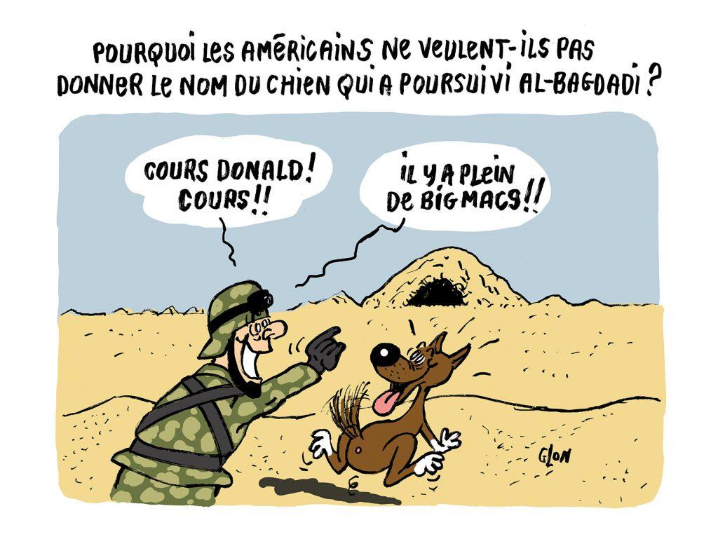 dessin humoristique de Glon sur la mort d'Abou Bakr al-Baghdadi lors d'un raid de l'armée américaine