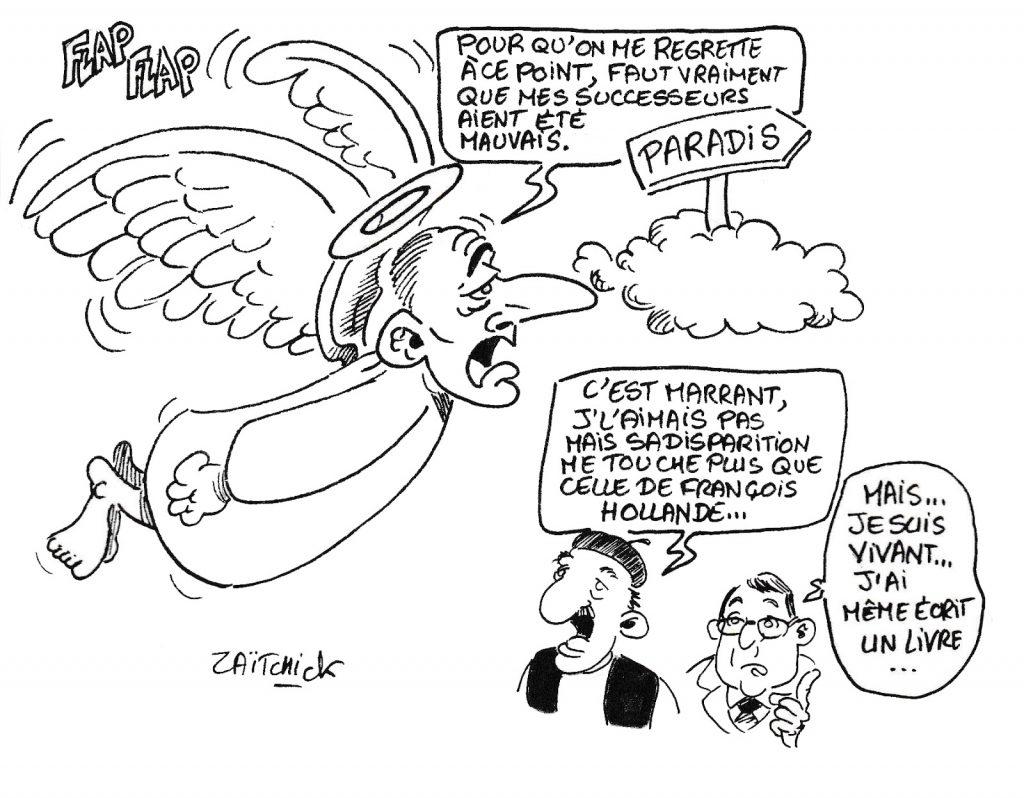 dessin humoristique de Zaïtchick sur la mort de Jacques Chirac et les hommages unanimes exprimés par tous