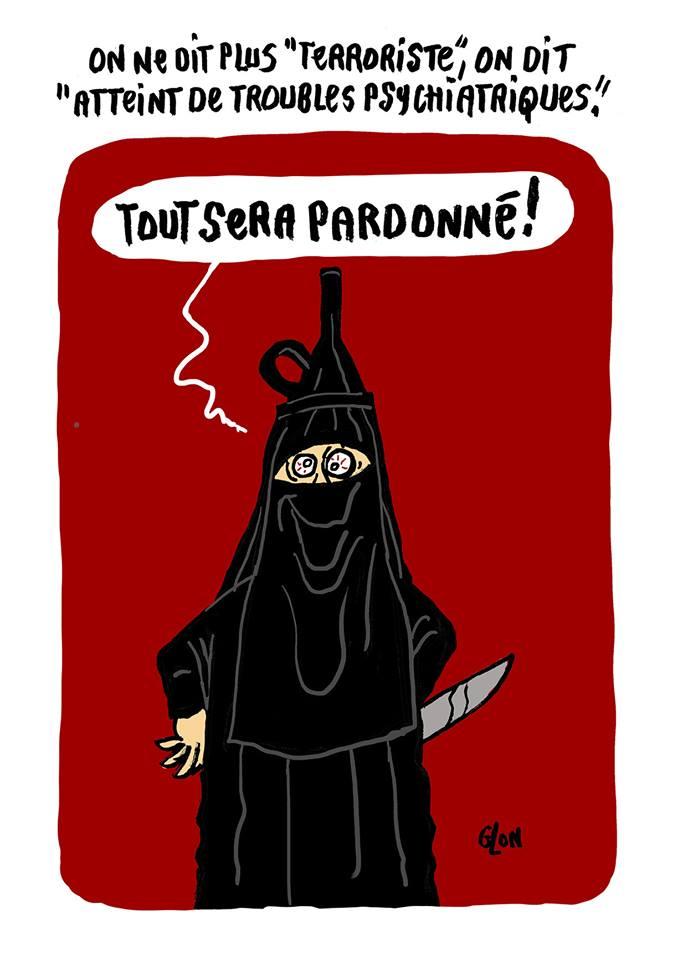 dessin humoristique de Glon sur l'attaque au couteau à la préfecture de police de Paris