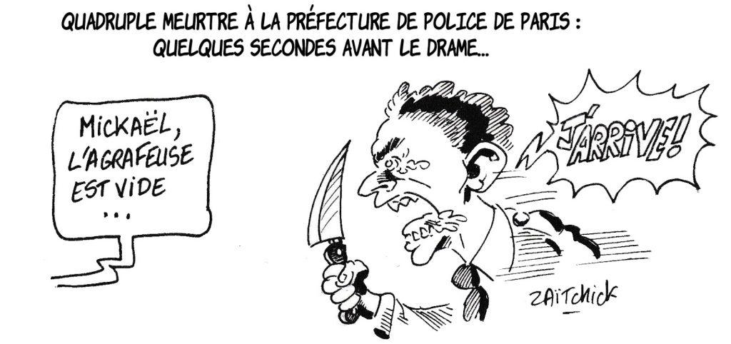dessin humoristique de Zaïtchick sur l'attaque au couteau à la préfecture de police de Paris et Mickaël Harpon
