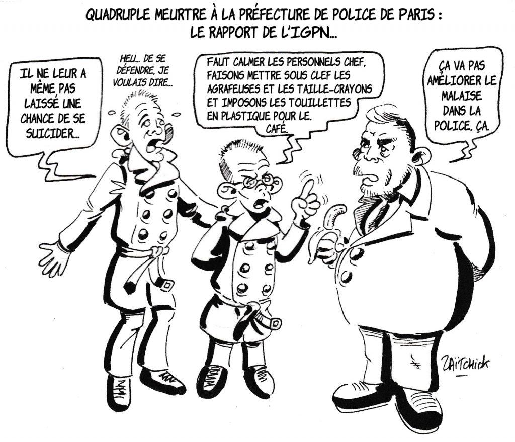 dessin humoristique de Zaïtchick sur l'attaque au couteau à la préfecture de police de Paris et la réaction de Christophe Castaner
