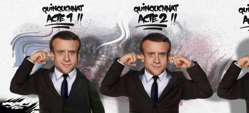 dessin d'actualité humoristique de Jerc sur l'acte 2 du quinquennat d'Emmanuel Macron