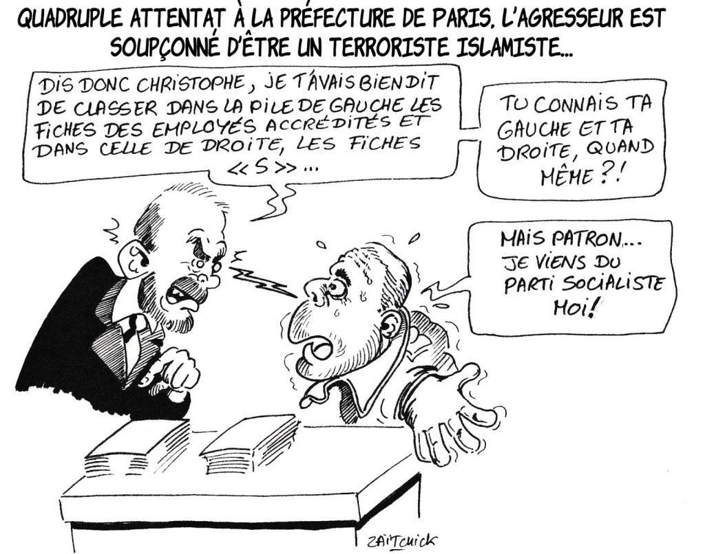 dessin humoristique de Zaïtchick sur l'attaque au couteau perpétré par Mickaël Harpon à la préfecture de police de Paris