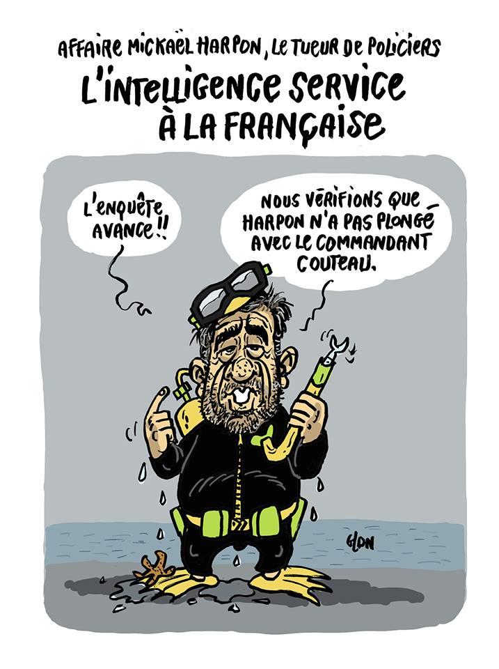 dessin humoristique de Glon sur l'attaque au couteau à la préfecture de police de Paris et l'enquête en cours