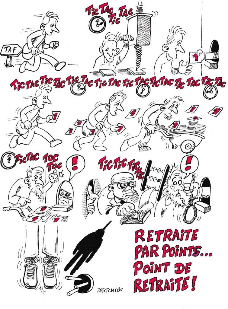 dessin humoristique de Zaïtchick sur la réforme des retraites et la retraite à points