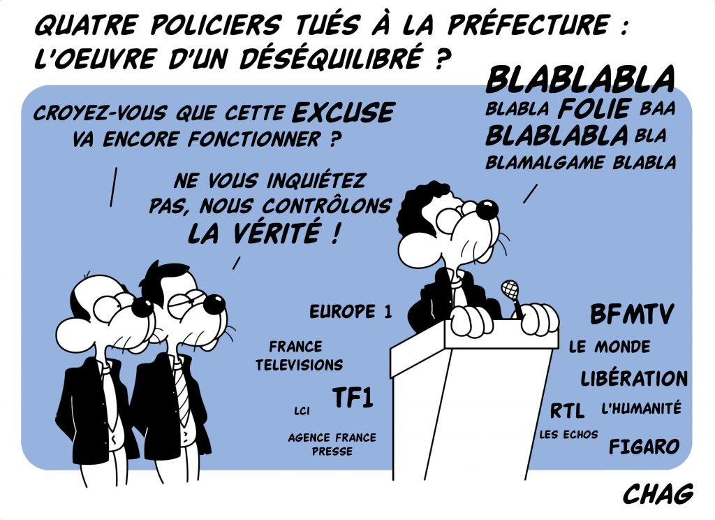 dessin d'humour de Chag sur l'attaque au couteau à la préfecture de police de Paris et le discours officiel