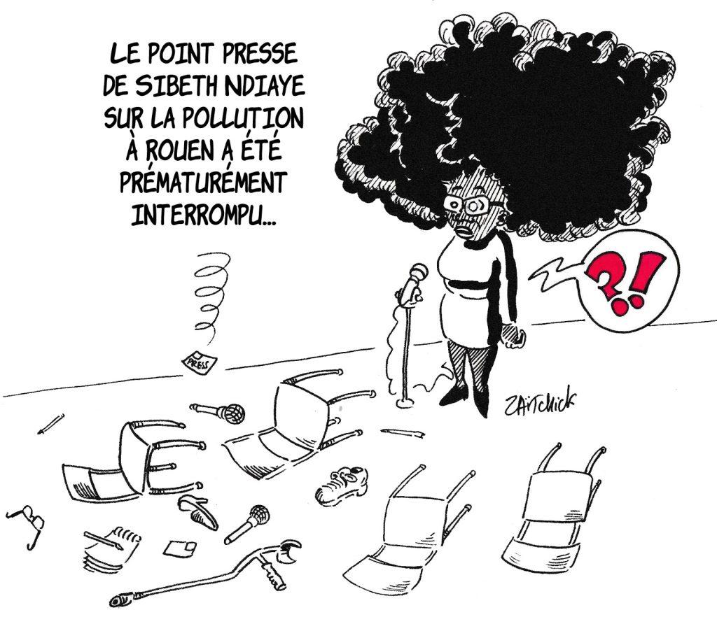 dessin humoristique de Zaïtchick sur l'incendie de l'usine Lubrizol à Rouen et le point presse de Sibeth Ndiaye