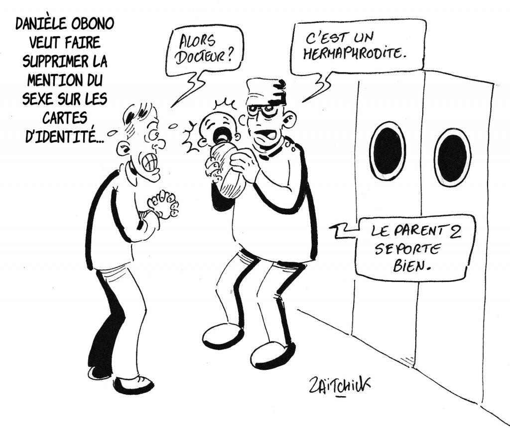 dessin humoristique de Zaïtchick sur la volonté de Danièle Obono de supprimer la mention du sexe sur les pièces d'identité
