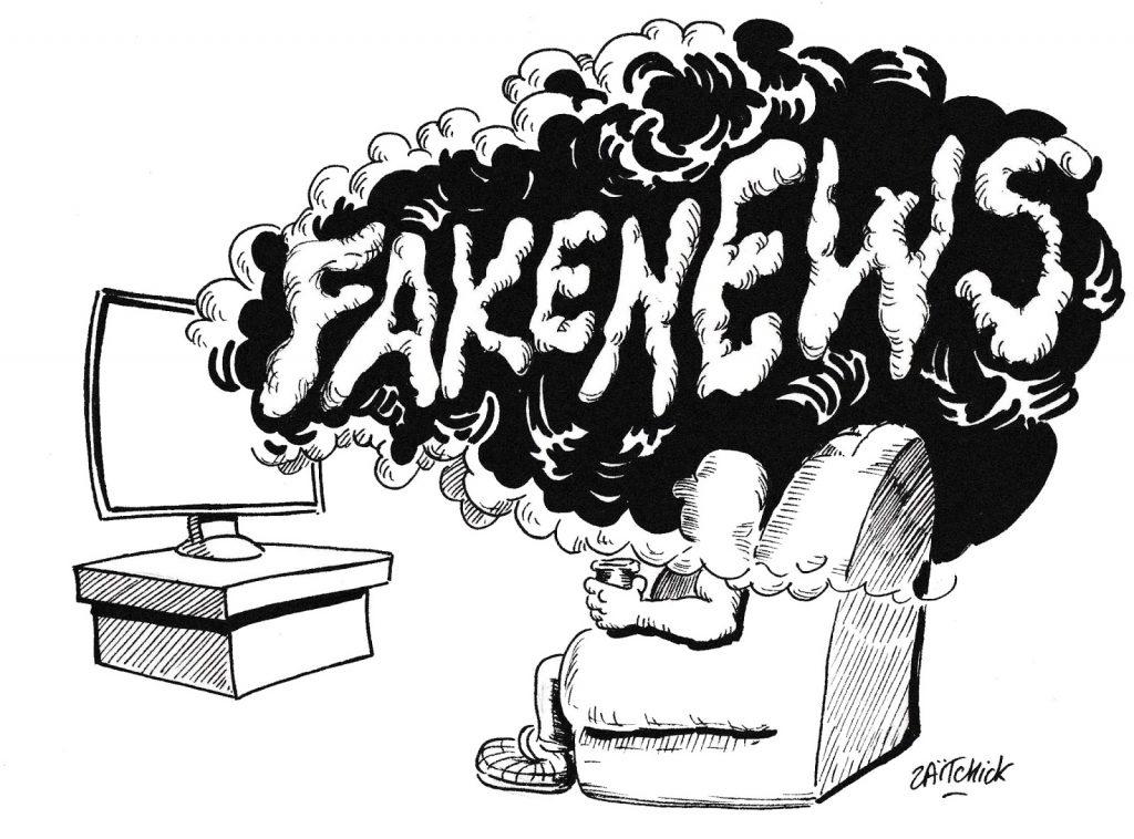 dessin de Zaïtchick sur la propagande dispensée par les médias officiels