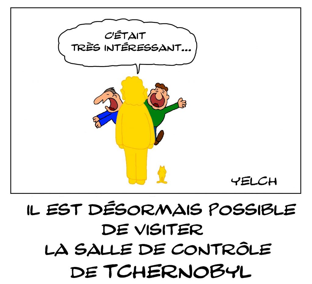 dessin de Yelch sur les visites organisées de la salle de contrôle de Tchernobyl