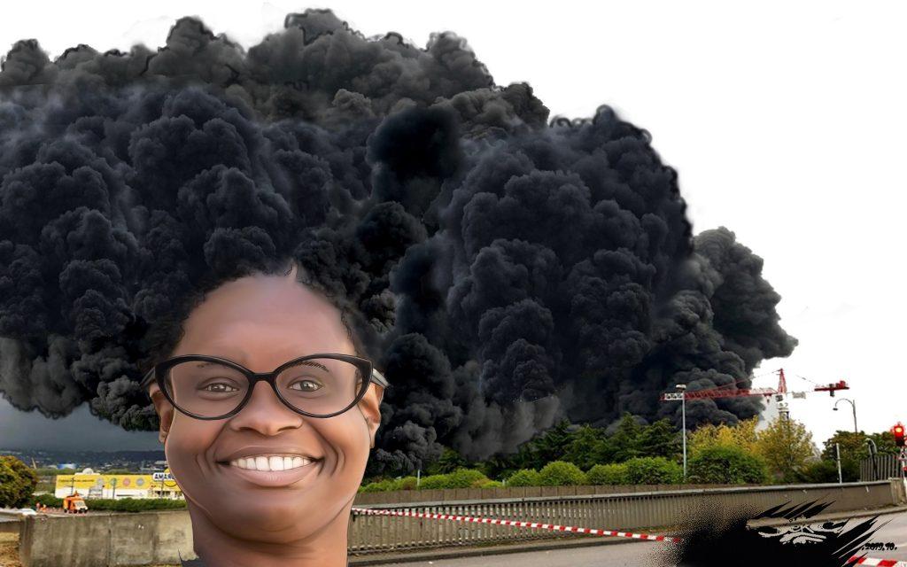 dessin d'actualité humoristique de Jerc sur l'incendie de l'usine Lubrizol à Rouen et le point presse de Sibeth Ndiaye