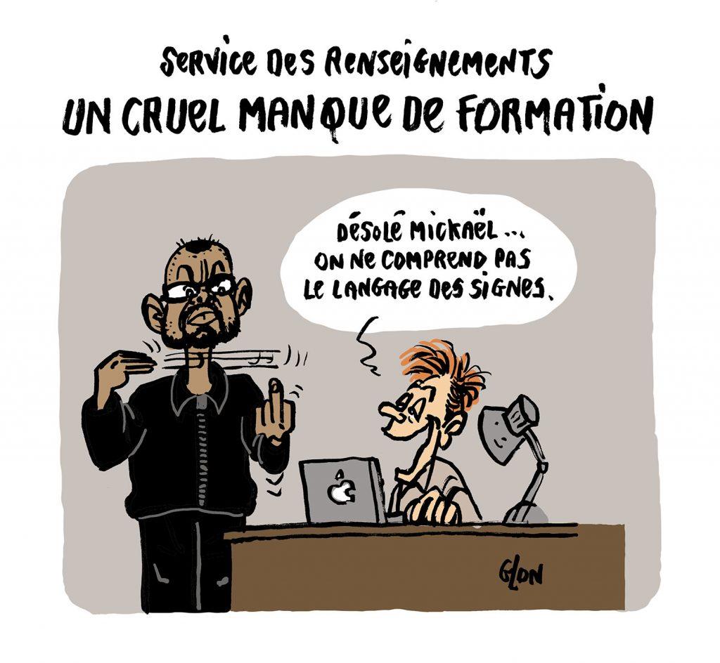 dessin humoristique de Glon sur l'attaque au couteau à la préfecture de police de Paris et le manque de renseignements des renseignements français