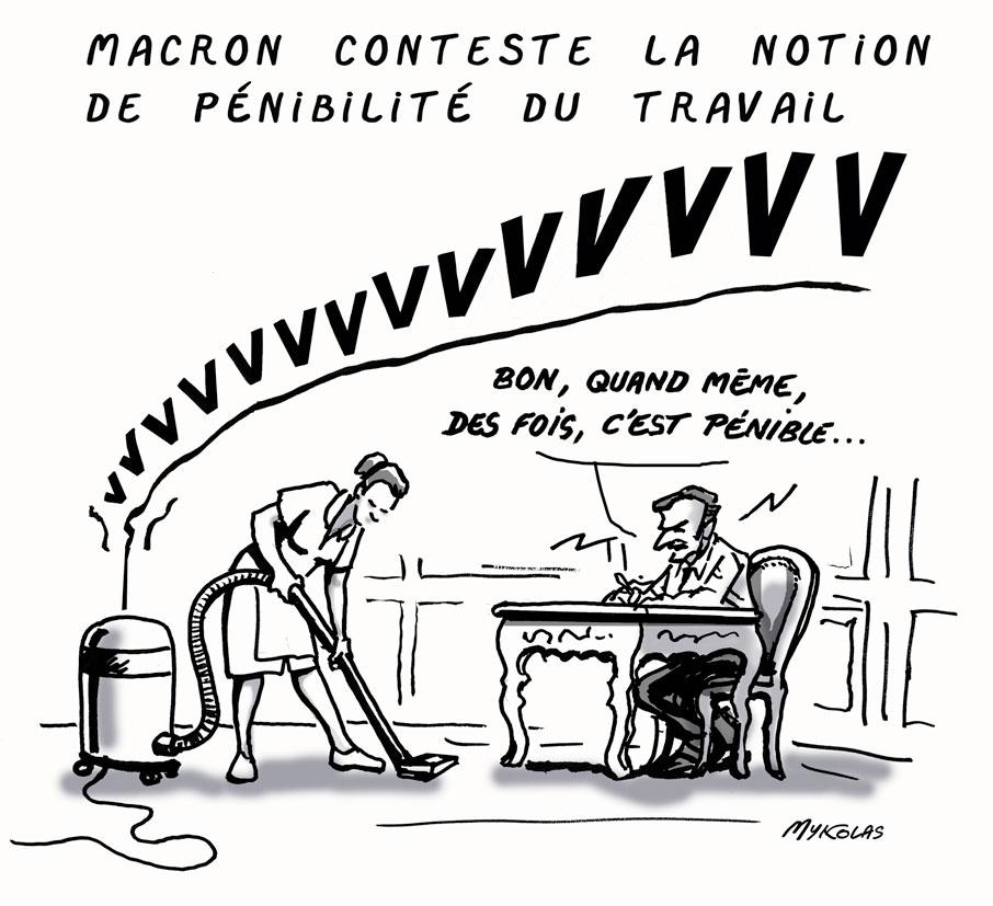 dessin d'actualité humoristique sur Emmanuel Macron et la pénibilité du travail
