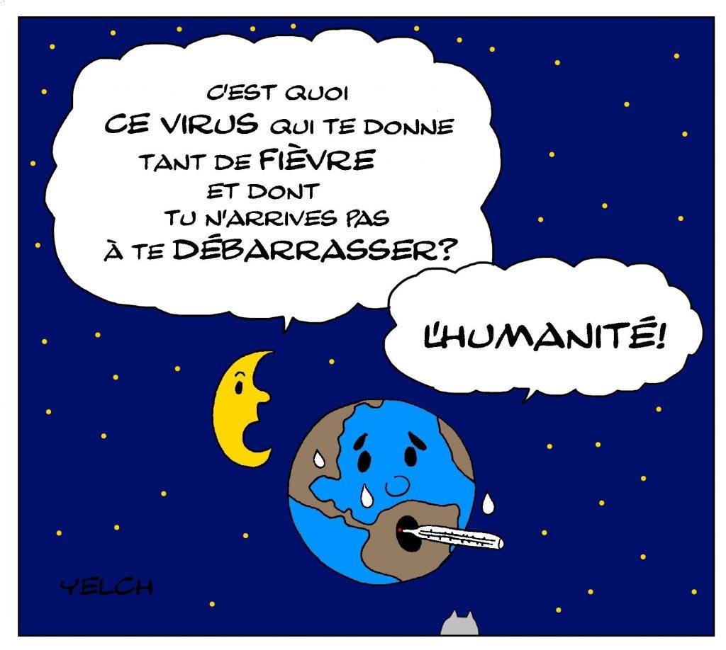 dessin de Yelch sur la Terre malade de l'humanité