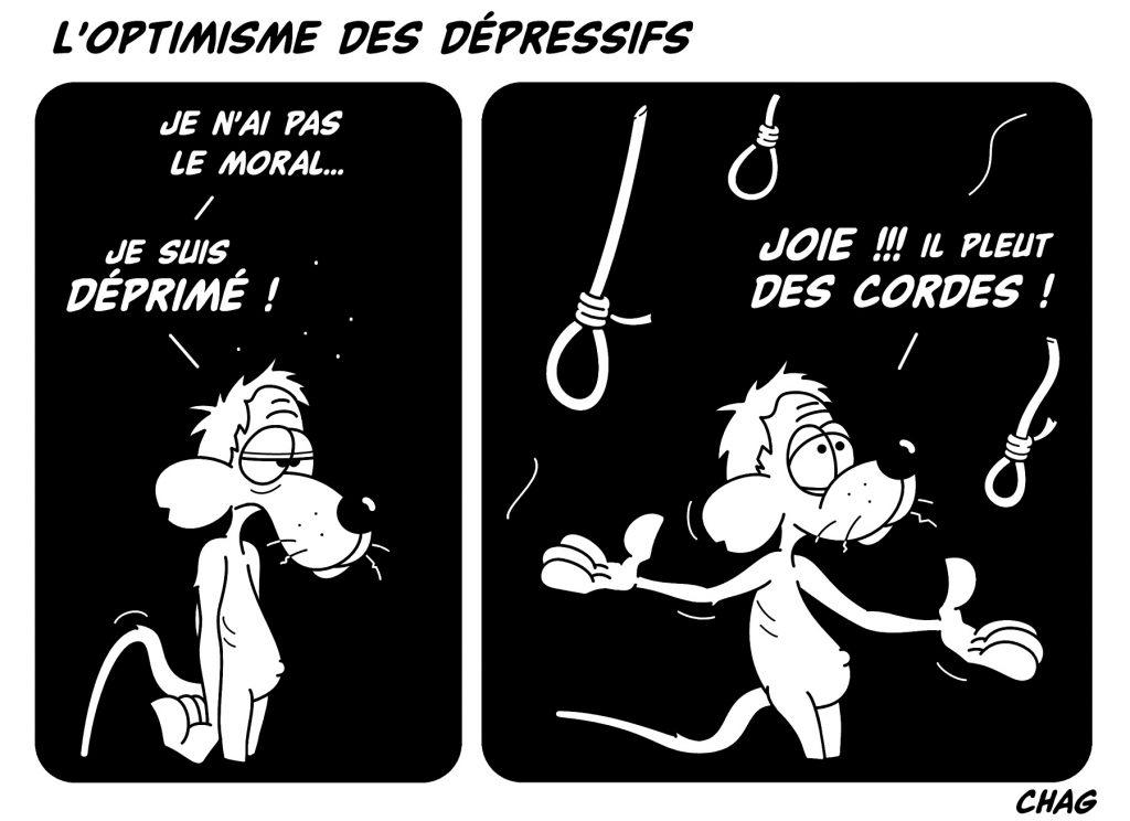 dessin d'humour de Chag sur les dépressifs et les optimistes