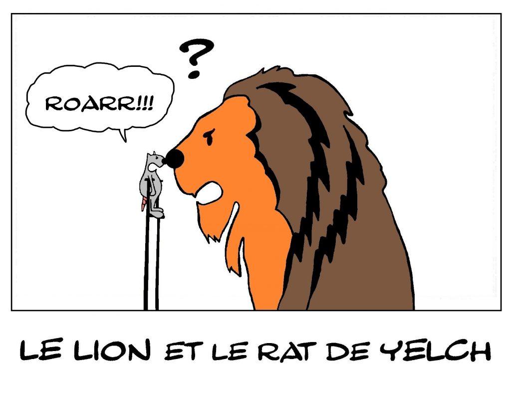 dessin de Yelch sur les lions et les rats