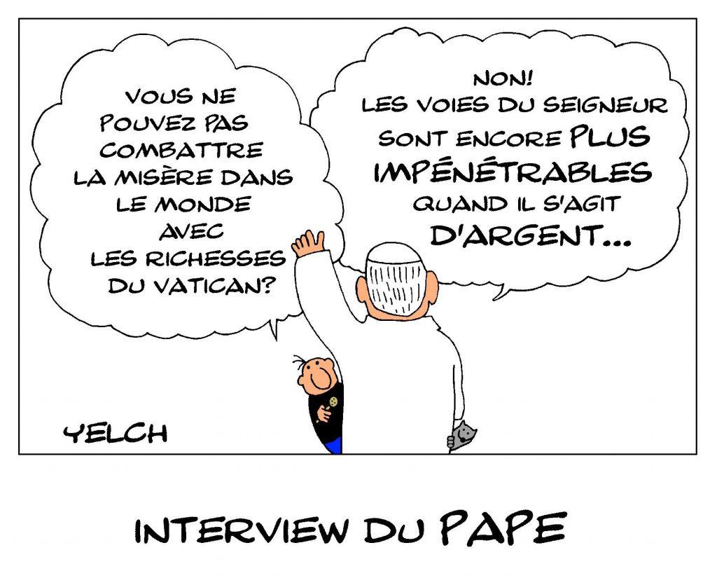 dessin de Yelch sur la richesse du Vatican et la misère dans le monde