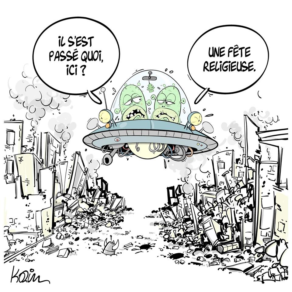 dessin d'actualité humoristique de Karim sur les extraterrestres et les fêtes religieuses