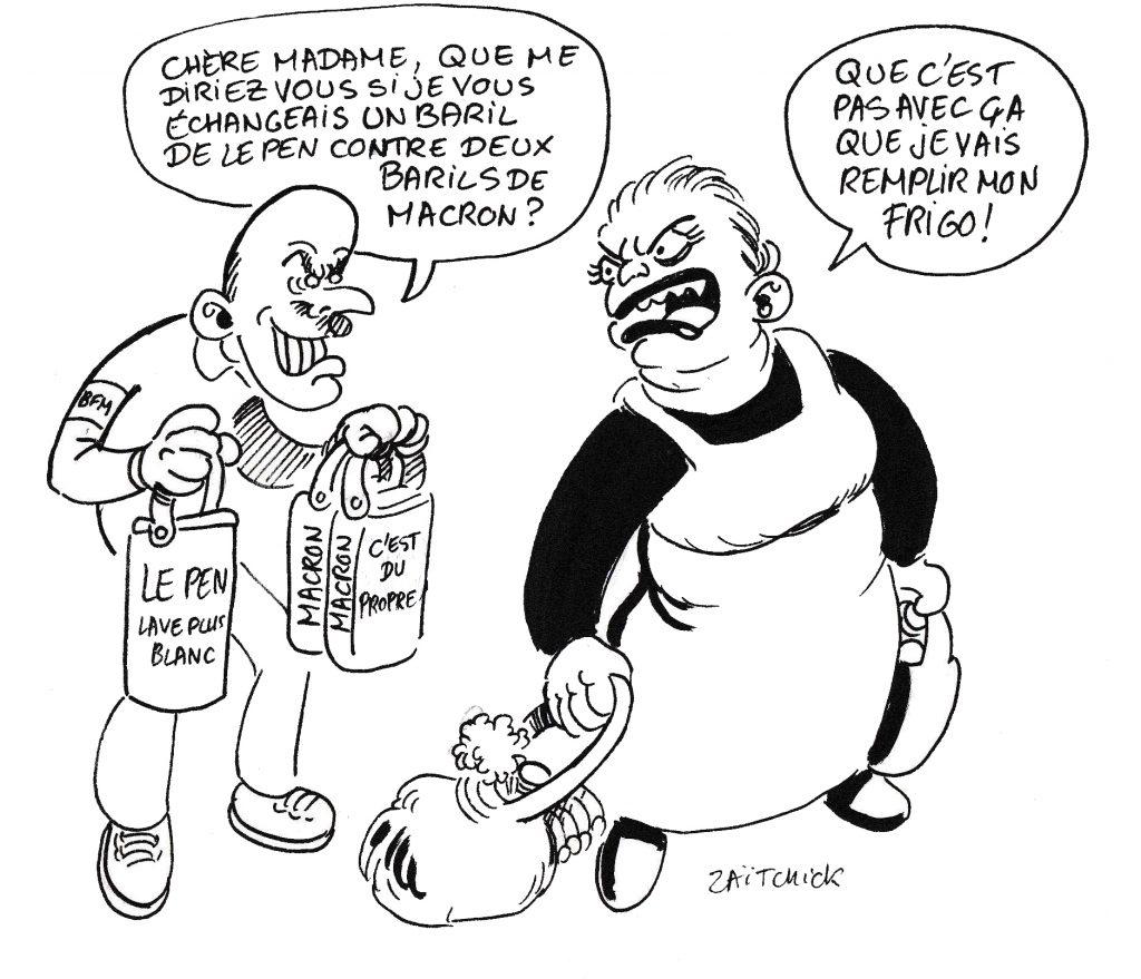 dessin de Zaïtchick sur un camelot qui propose à une ménagère d'échanger deux barils de Macron contre un baril de Le Pen