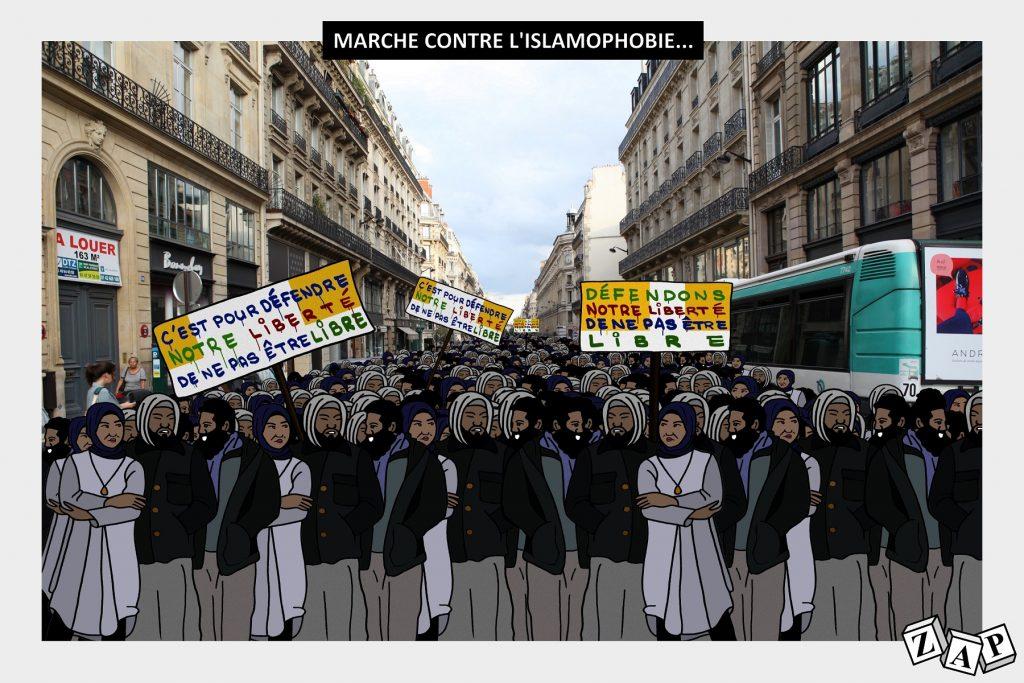 dessin d'actualité de Zap sur la marche contre l'islamophobie