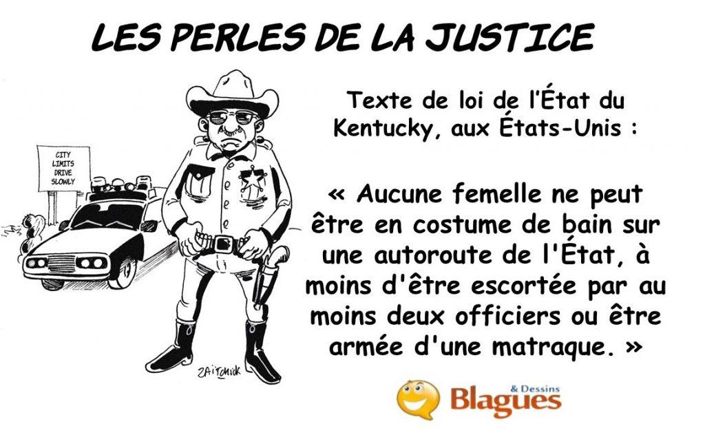 les perles de la justice, les perles des lois américaines