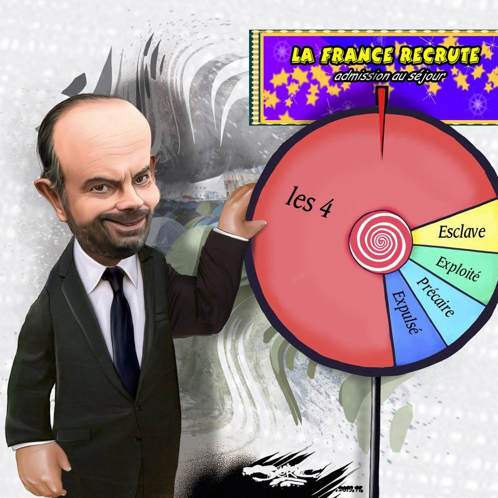 dessin d'actualité humoristique de Jerc sur Édouard Philippe et l'immigration choisie