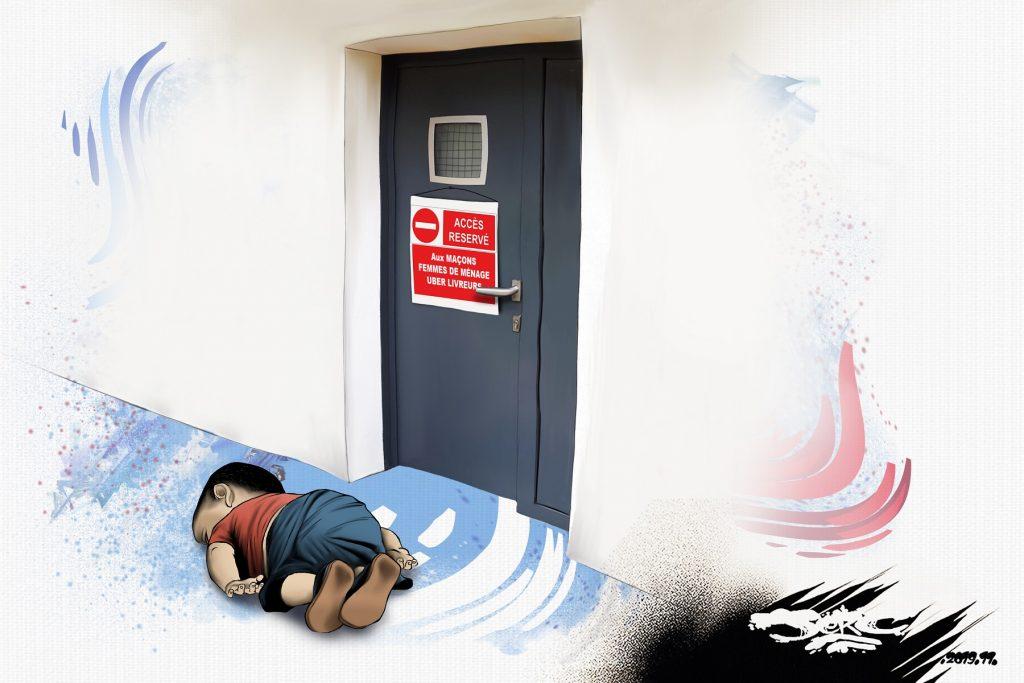 dessin d'actualité humoristique de Jerc sur la France pays d'accueil