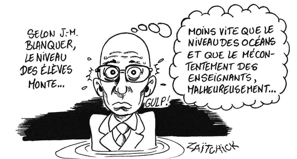 dessin de Zaïtchick sur Jean-Michel Blanquer dans l'eau jusqu'au cou