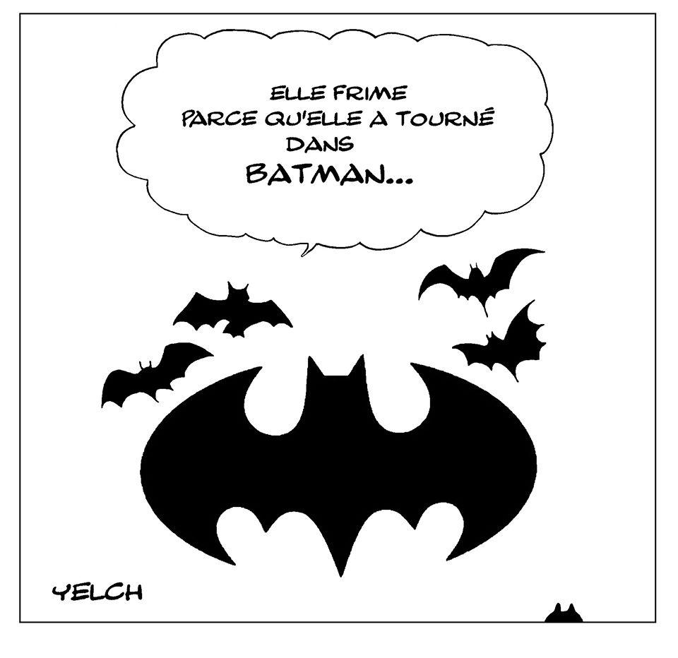dessin de Yelch sur la chauve-souris de Batman