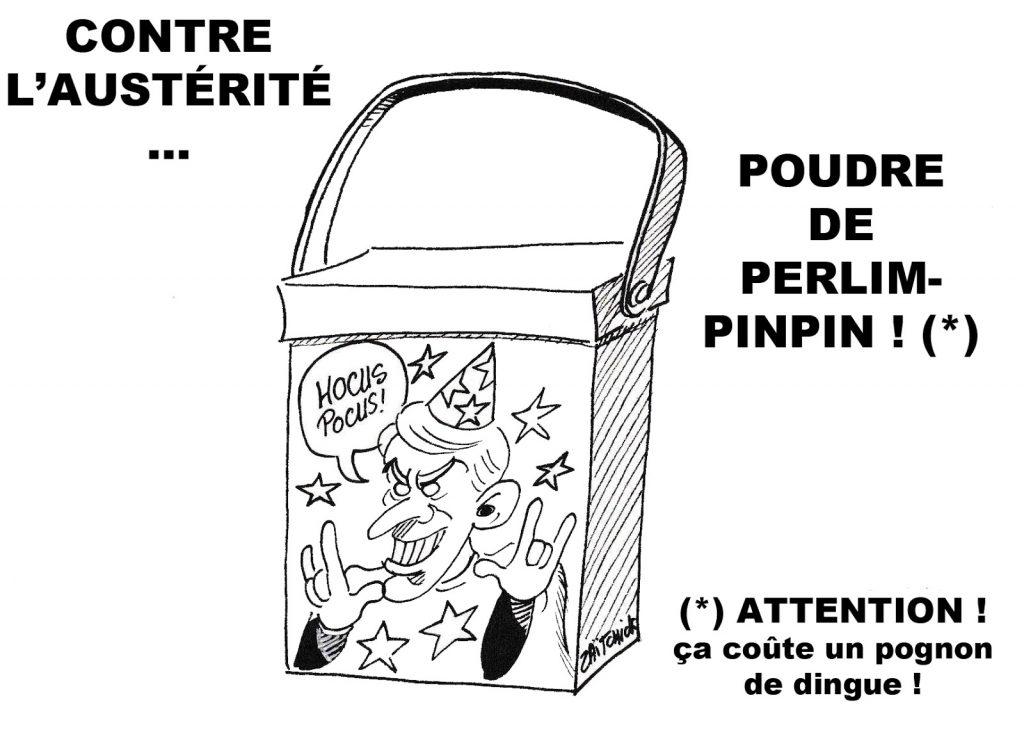 dessin de Zaïtchick sur l'austérité et Emmanuel Macron