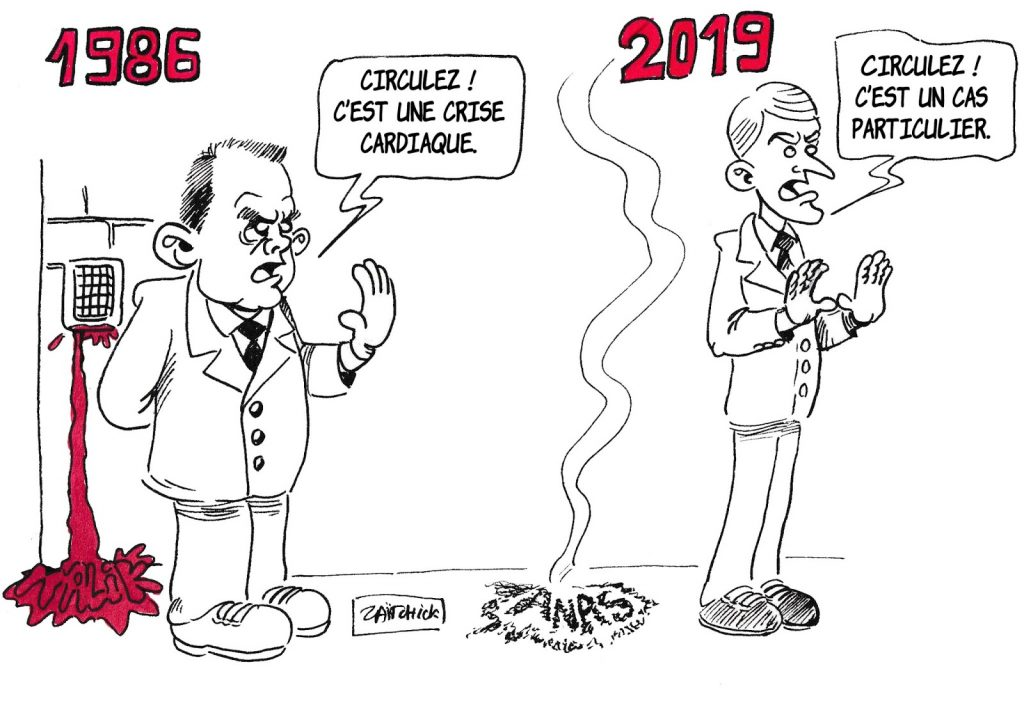 dessin de Zaïtchick sur Charles Pasqua et Emmanuel Macron niant la vérité sur la mort de Malik Oussekine et l'immolation d'Anas