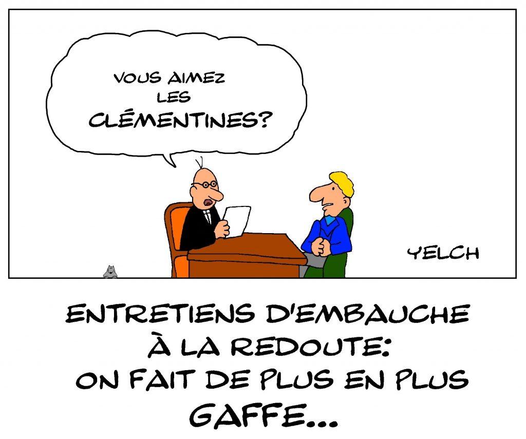 dessin de Yelch sur le salarié de La Redoute mis à pied pour avoir mangé une clémentine à son poste de travail